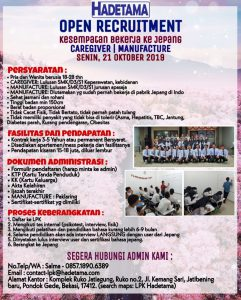 OPEN RECRUITMENT!! CAREGIVER DAN MANUFACTURE
